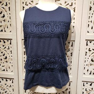 J. Crew Blue Crochet Tank Top Sleeveless Size XS